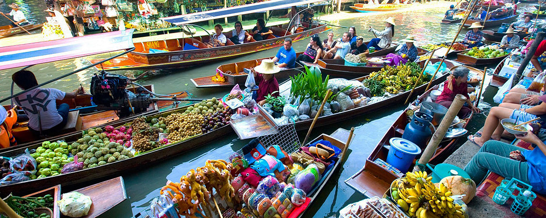 Bangkok Floating Market and Rose Garden Tour