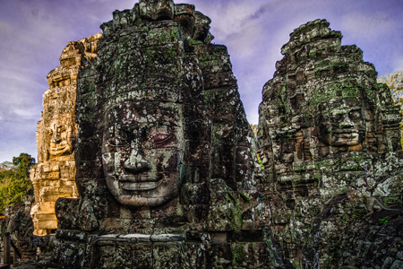 Buddha Face Carvings in Stone at Bayon Temple