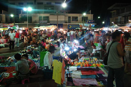 Crowds in the local market in Krabi.