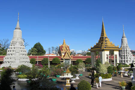 The panoramic view of Silver Pagoda in Phnom Penh.
