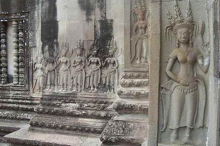 Carved Apsara in Angkor Wat, Siem Reap, Cambodia