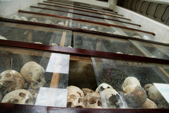 The skull of the victims at Choeung Ek Stupa