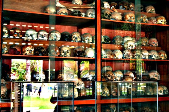 The skulls of prisoners in Tuol Sleng Genocide Museum