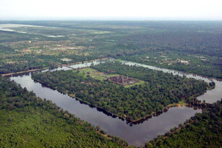 The surrounding moat of Angkor Wat
