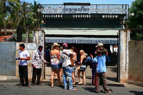 Visitors at Tuol Sleng Genocide Museum, Phnom Penh
