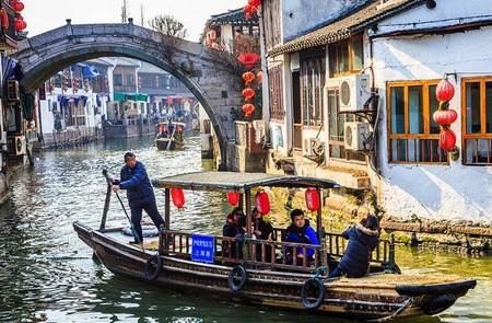 A small canal of Zhujiajiao Ancient Water Town