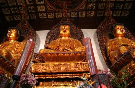 Three Golden Buddhas in the Jade Buddha Temple
