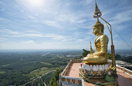 Huge sitting Buddha image on the top of Tiger Cave Temple