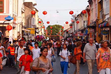 Hustling and bustling atmosphere in Phu Ket town
