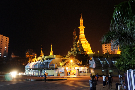 Magnificent Sule Pagoda at Night