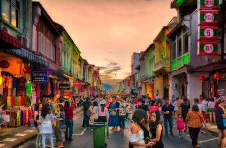 Walking street in Phu Ket Old Town, Thailand