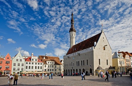 Town Hall Square in Old Medieval Hansa Tallinn, Estonia