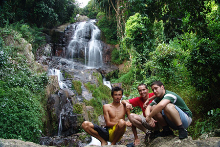 Tourists with the local at Namuang Waterfalls