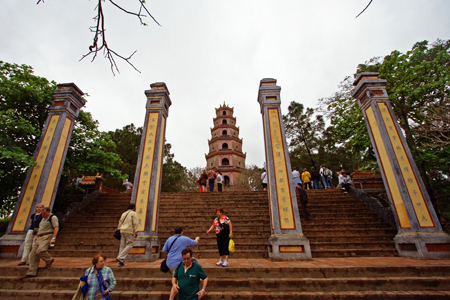 Visitors at Thien Mu Pagoda
