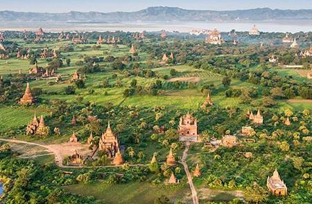 Sky view of Bagan temples, Myanmar