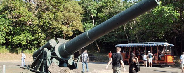 Corregidor holds testament to the horrors of war with the presence of ruins and and the remnants of the pockmarked walls and guns