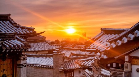 Sunset over Bukchon Hanok Village