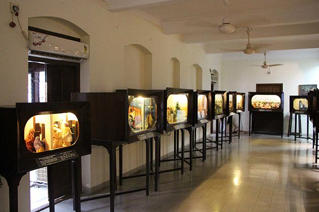 A display gallery at Mani Bhavan