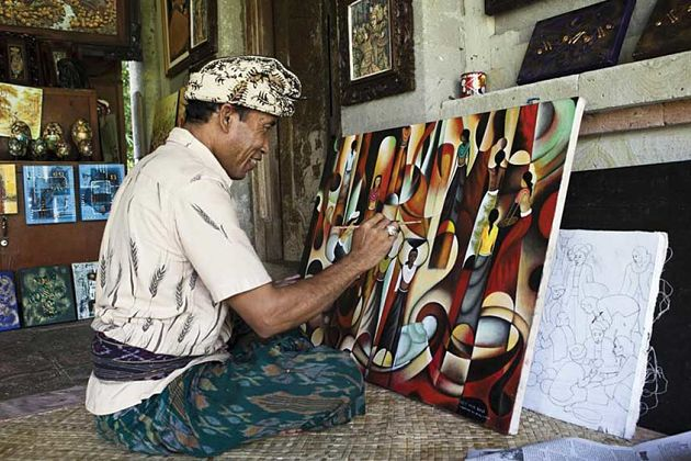 Batuan village hand painting